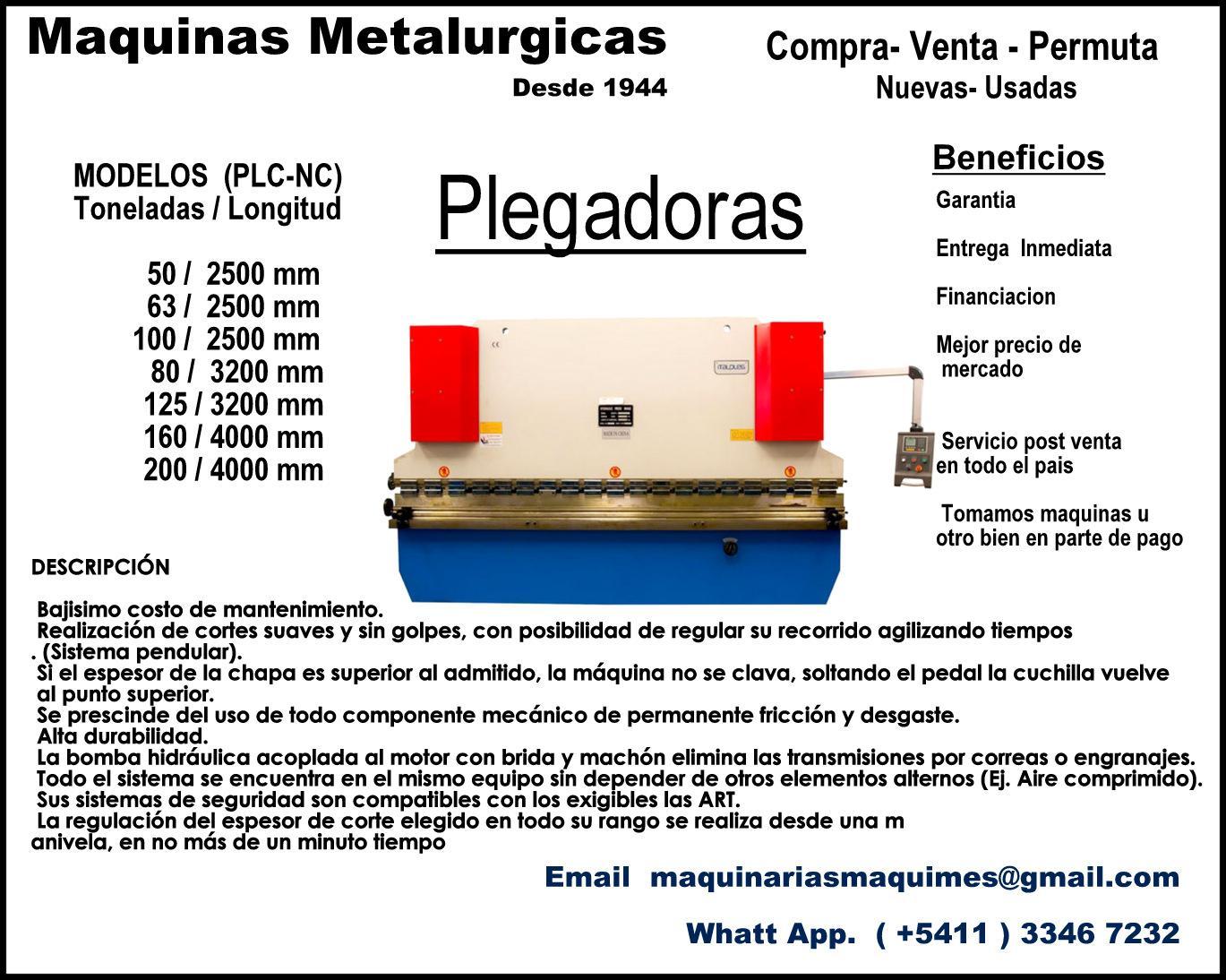 PLEGADORA -MAQUINAS METALURGICAS