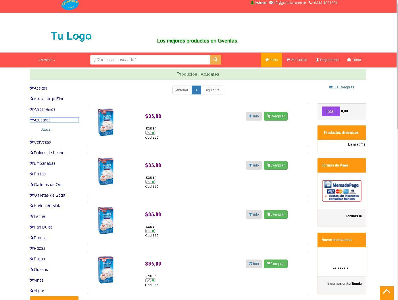 Sistema ecommerce, sistema para ventas por Internet