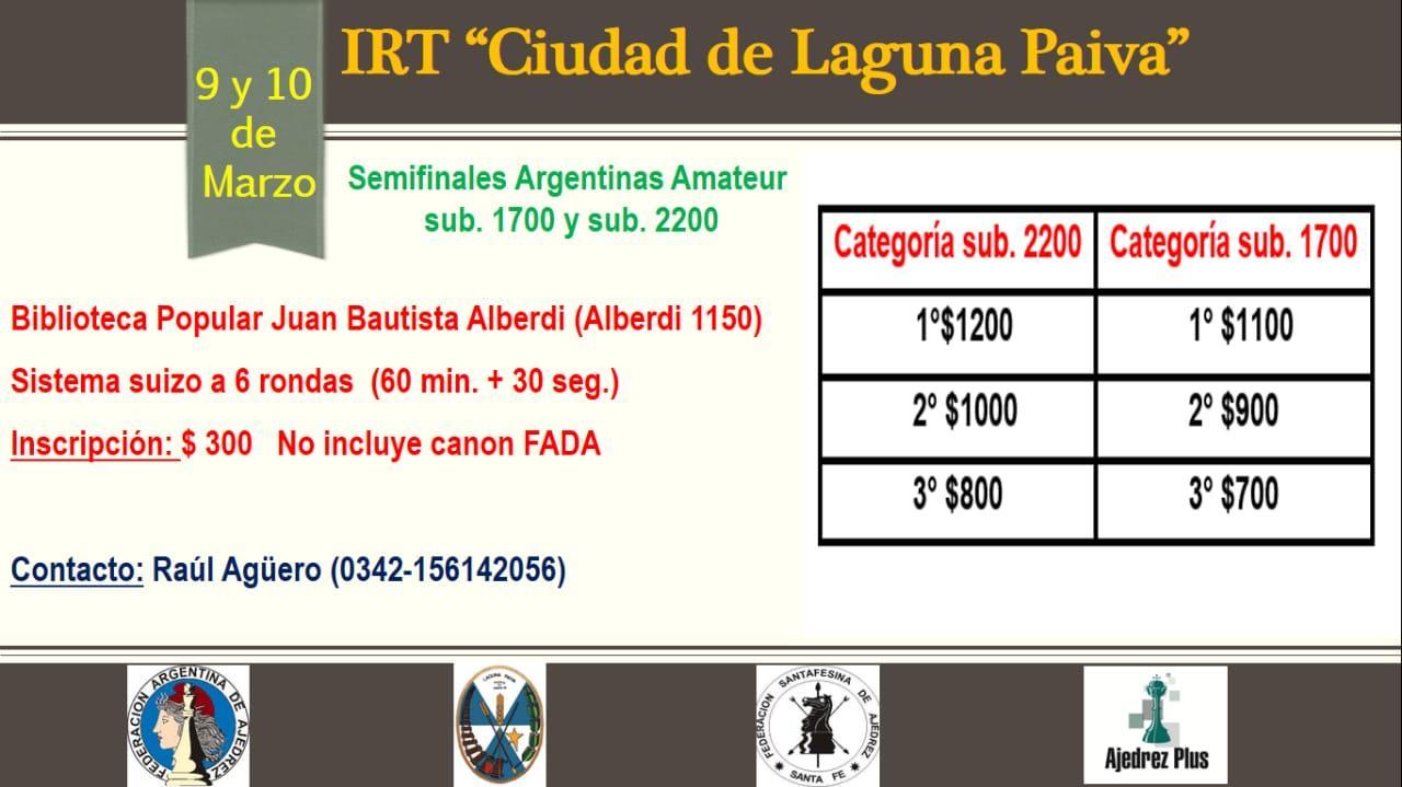 IRT Ciudad de Laguna Paiva 9 y 10 de marzo de 2019